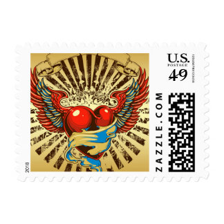Winged heart tattoo postage stamp