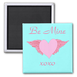 Winged Heart Valentine 2 Inch Square Magnet
