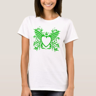 Winged Heart With Crown T-Shirt in Green