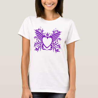 Winged Heart With Crown T-Shirt in Purple