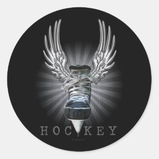 Winged Hockey Classic Round Sticker