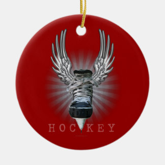 Winged Hockey Christmas Ornament