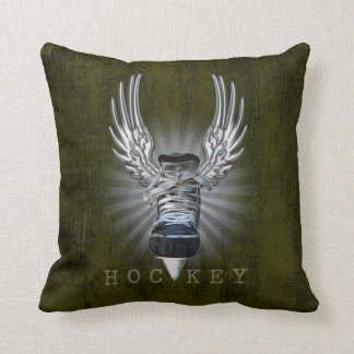 Winged Hockey Throw Pillow
