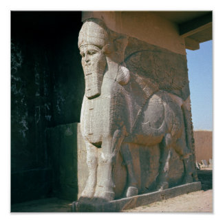 Winged human-headed bull, Neo-Assyrian Period Poster