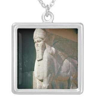 Winged human-headed bull, Neo-Assyrian Period Square Pendant Necklace
