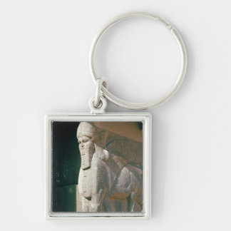 Winged humano-dirigió el toro, período Neo-Asirio Llavero Cuadrado Plateado