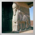 Winged humano-dirigió el toro, período Neo-Asirio Impresiones