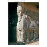 Winged humano-dirigió el toro, período Neo-Asirio Tarjeta