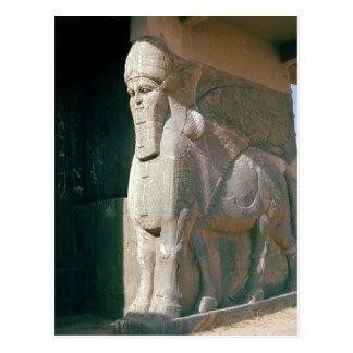Winged humano-dirigió el toro, período Neo-Asirio Tarjeta Postal