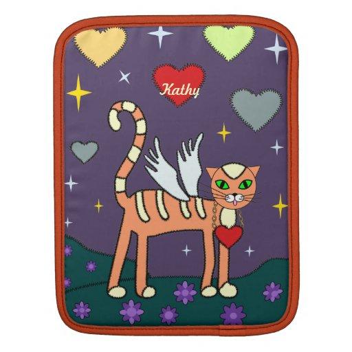 Winged Kitty with Heart Custom IPad1and2 Sleeve iPad Sleeve