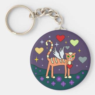 Winged Kitty with Heart Custom Keychain