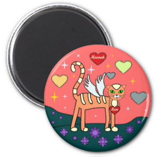 Winged Kitty with Heart Custom Magnet