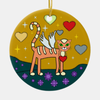 Winged Kitty with Heart Custom Ornament