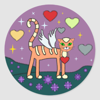 Winged Kitty with Heart Custom Sticker