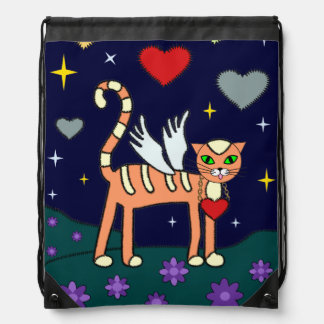 Winged Kitty with Heart Drawstring Bag