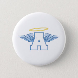 Winged Letter A Pinback Button