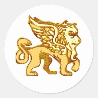 Winged Lion Classic Round Sticker