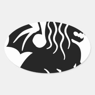 Winged Lion Sitting Oval Sticker