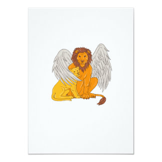 Winged Lion With Cub Under Its Wing Drawing Card