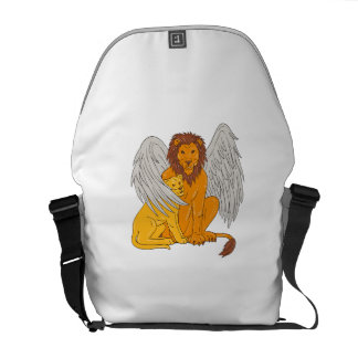 Winged Lion With Cub Under Its Wing Drawing Courier Bag