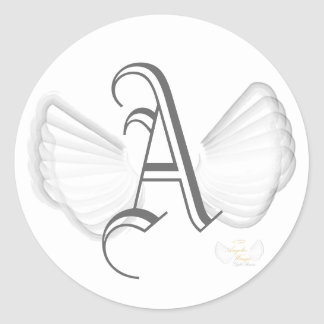 Winged Monogram Sticker-Customize Classic Round Sticker