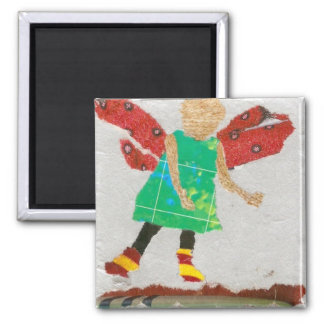 Winged One 2 Inch Square Magnet