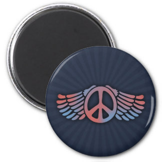 Winged Peace 2 Inch Round Magnet