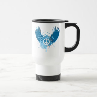 Winged Peace Sign 15 Oz Stainless Steel Travel Mug