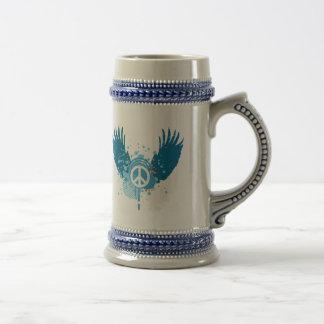 Winged Peace Sign Coffee Mugs