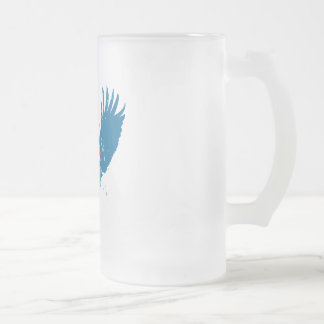 Winged Peace Sign 16 Oz Frosted Glass Beer Mug
