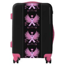 Winged Pink Ribbon Luggage