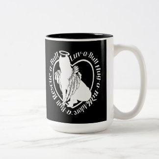 Winged Pitbull Angel Two-Tone Coffee Mug