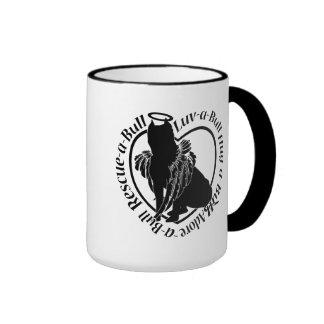 Winged Pitbull Angel Ringer Coffee Mug