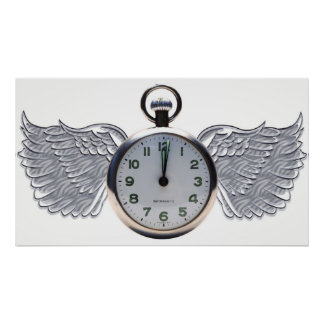 Winged Pocket Watch Poster