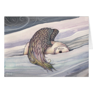 Winged Polar Bear Angel Christmas Card