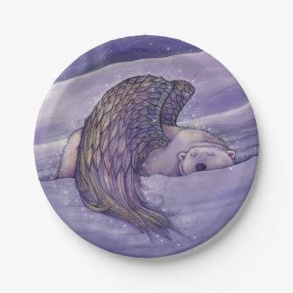 Winged Polar Bear Angel Fantasy Art 7 Inch Paper Plate