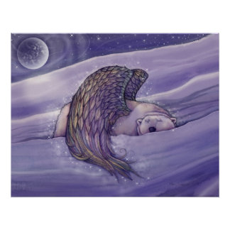 Winged Polar Bear Angel Poster Print by Molly