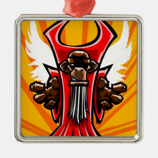 Winged Primate Square Metal Christmas Ornament