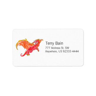 Winged Red Dragon Address Label