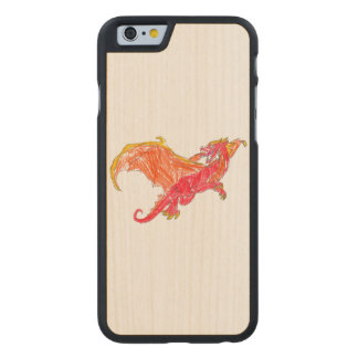 Winged Red Dragon Carved Maple iPhone 6 Case