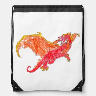 Winged Red Dragon Drawstring Bag
