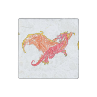 Winged Red Dragon Stone Magnet