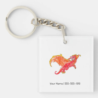 Winged Red Dragon Keychain