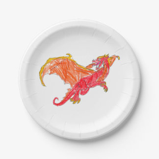 Winged Red Dragon Paper Plate