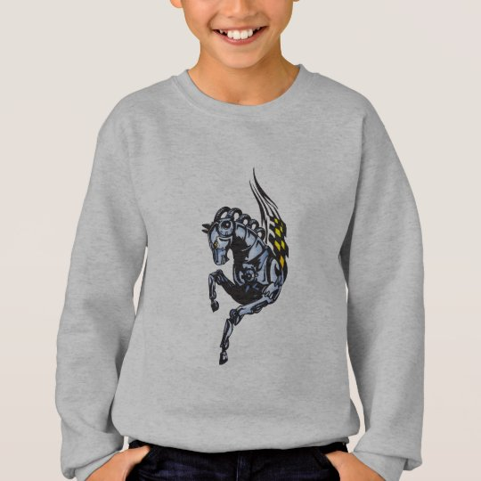 Winged Robot Horse Sweatshirt