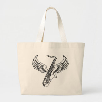 Winged Sax Large Tote Bag