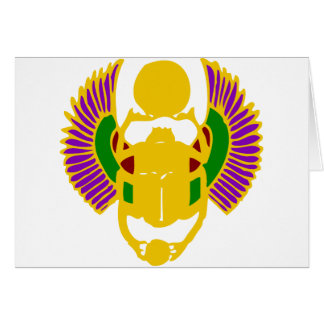 winged scarab beetle Egyptian card - gold & white