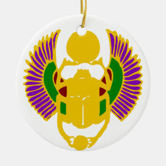 winged scarab beetle Egyptian design-gold & white Ceramic Ornament