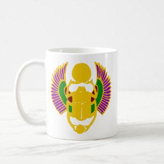 winged scarab beetle Egyptian design-gold & white Coffee Mug