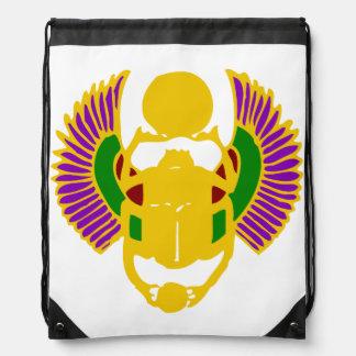 winged scarab beetle Egyptian design-gold & white Drawstring Bag
